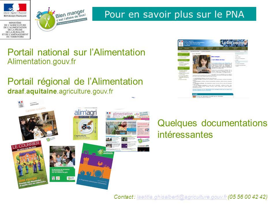 Pour en savoir plus sur le PNA Portail national sur lAlimentation Alimentation.gouv.fr Portail régional de lAlimentation draaf.aquitaine.agriculture.g