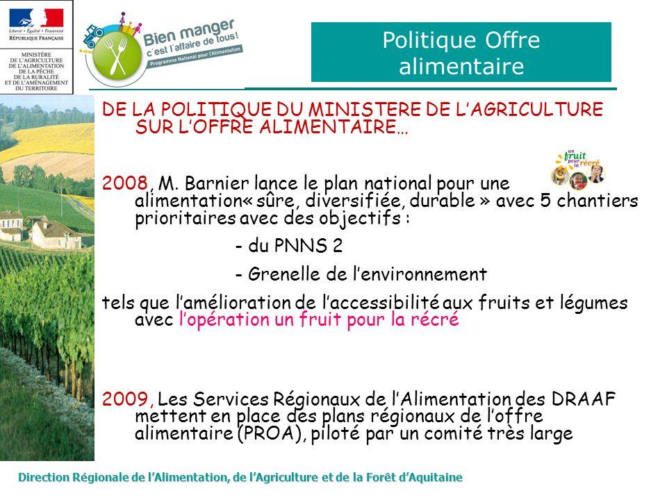 Direction Régionale de lAlimentation, de lAgriculture et de la Forêt dAquitaine Politique Offre alimentaire DE LA POLITIQUE DU MINISTERE DE LAGRICULTU