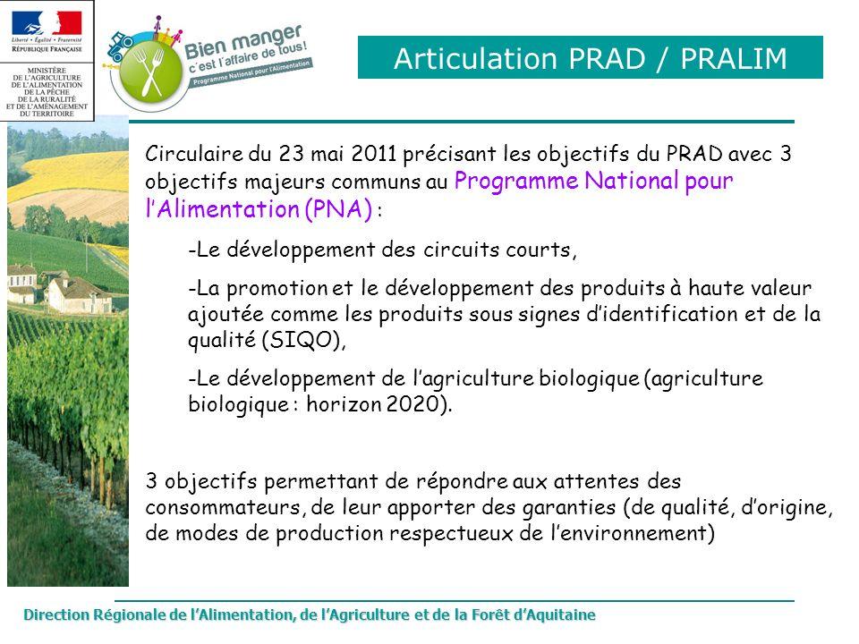 Direction Régionale de lAlimentation, de lAgriculture et de la Forêt dAquitaine Circulaire du 23 mai 2011 précisant les objectifs du PRAD avec 3 objec