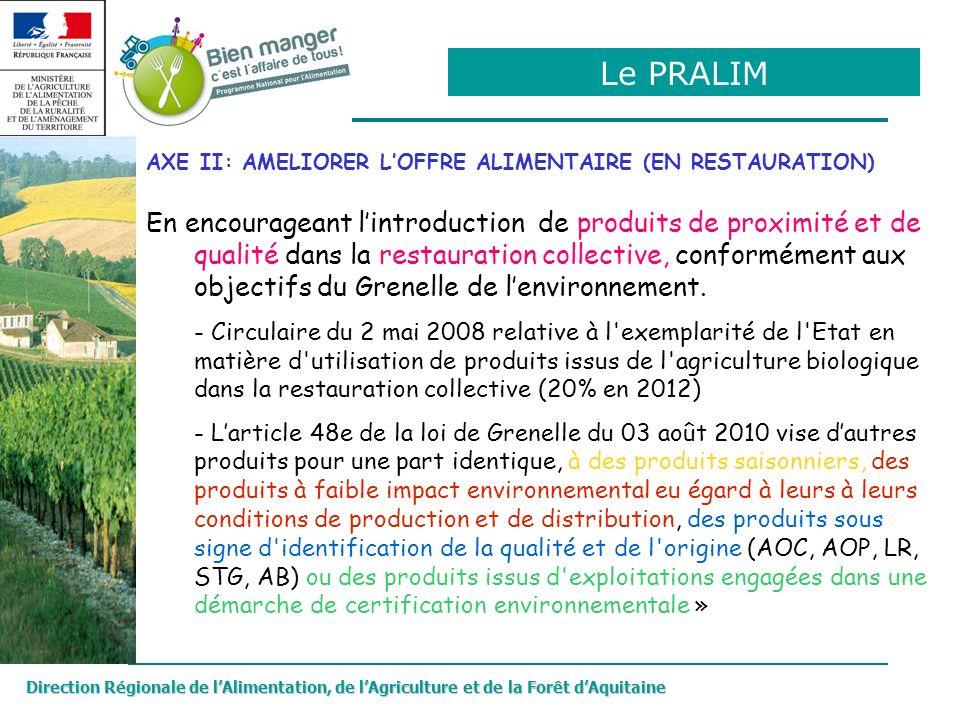 Direction Régionale de lAlimentation, de lAgriculture et de la Forêt dAquitaine AXE II: AMELIORER LOFFRE ALIMENTAIRE (EN RESTAURATION) En encourageant