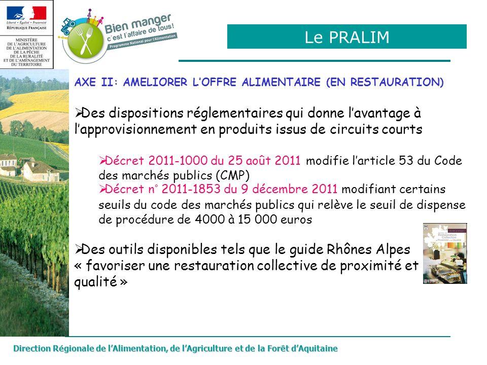 Direction Régionale de lAlimentation, de lAgriculture et de la Forêt dAquitaine AXE II: AMELIORER LOFFRE ALIMENTAIRE (EN RESTAURATION) Des disposition