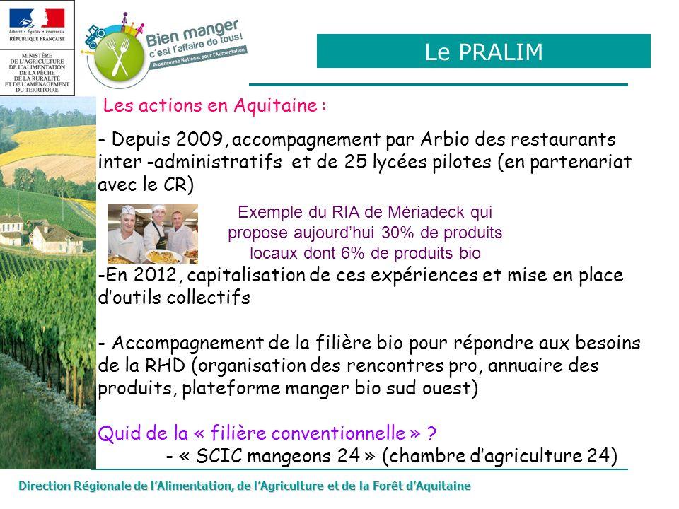 Direction Régionale de lAlimentation, de lAgriculture et de la Forêt dAquitaine - Depuis 2009, accompagnement par Arbio des restaurants inter -adminis