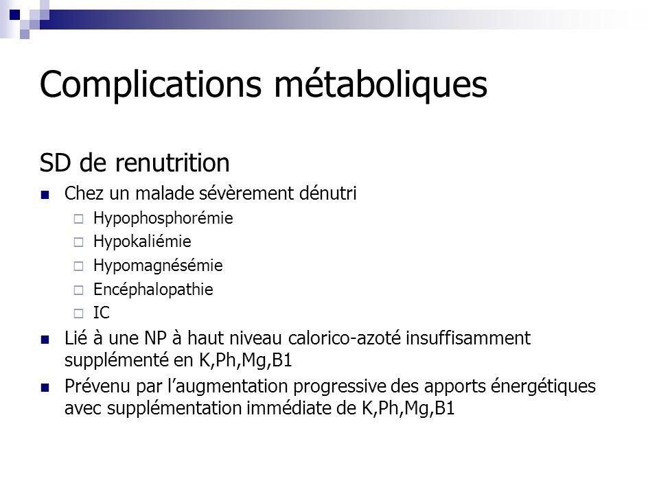 Complications métaboliques SD de renutrition Chez un malade sévèrement dénutri Hypophosphorémie Hypokaliémie Hypomagnésémie Encéphalopathie IC Lié à u