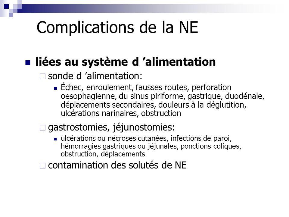 Complications de la NE liées au système d alimentation sonde d alimentation: Échec, enroulement, fausses routes, perforation oesophagienne, du sinus p