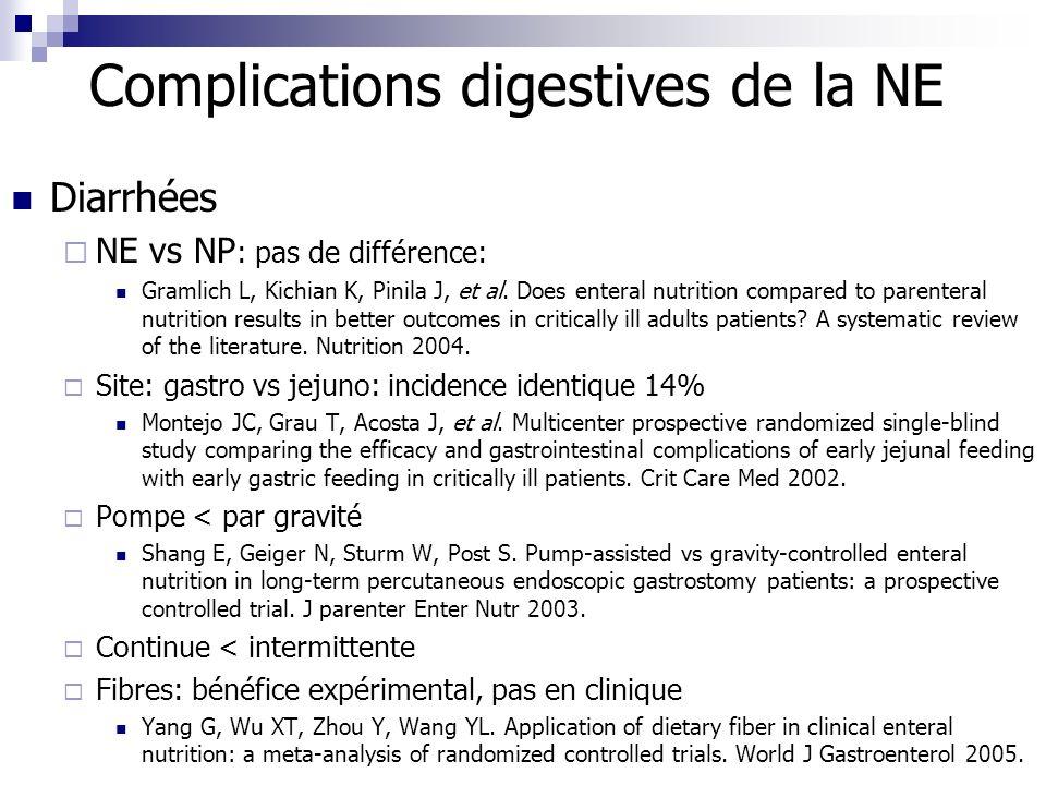 Complications digestives de la NE Diarrhées NE vs NP : pas de différence: Gramlich L, Kichian K, Pinila J, et al. Does enteral nutrition compared to p