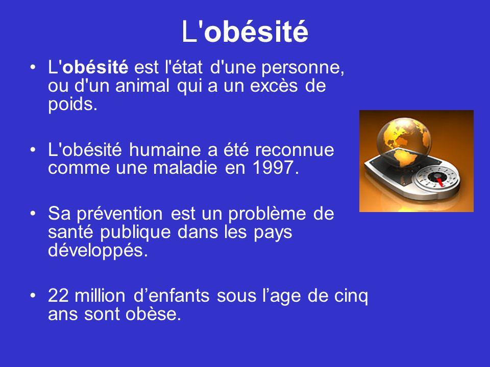 L'obésité est l'état d'une personne, ou d'un animal qui a un excès de poids. L'obésité humaine a été reconnue comme une maladie en 1997. Sa prévention
