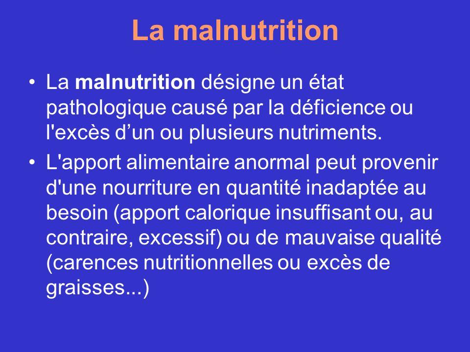 La malnutrition La malnutrition désigne un état pathologique causé par la déficience ou l'excès dun ou plusieurs nutriments. L'apport alimentaire anor