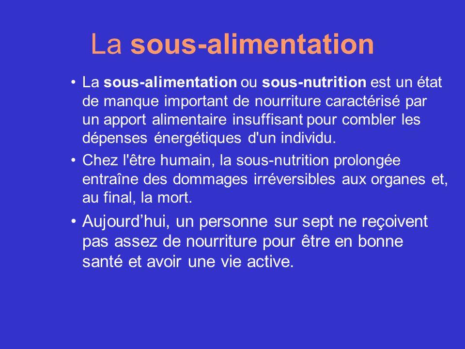 La sous-alimentation La sous-alimentation ou sous-nutrition est un état de manque important de nourriture caractérisé par un apport alimentaire insuff