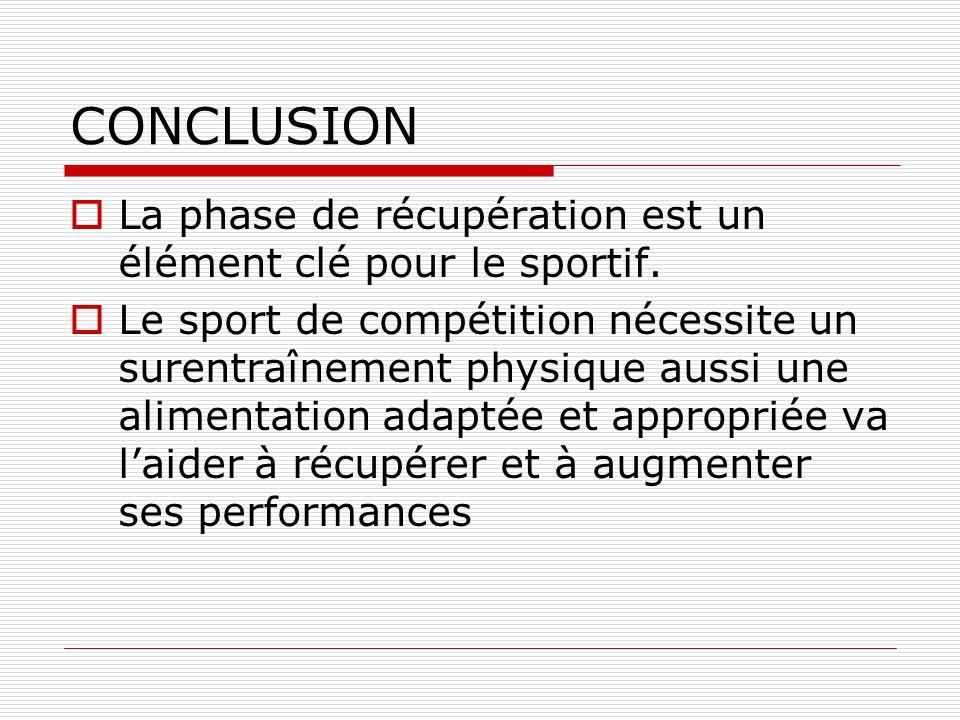 CONCLUSION La phase de récupération est un élément clé pour le sportif.