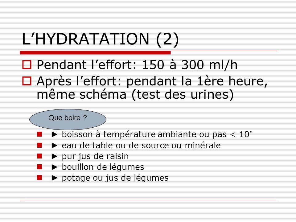 LHYDRATATION (2) Pendant leffort: 150 à 300 ml/h Après leffort: pendant la 1ère heure, même schéma (test des urines) boisson à température ambiante ou pas < 10° eau de table ou de source ou minérale pur jus de raisin bouillon de légumes potage ou jus de légumes Que boire ?