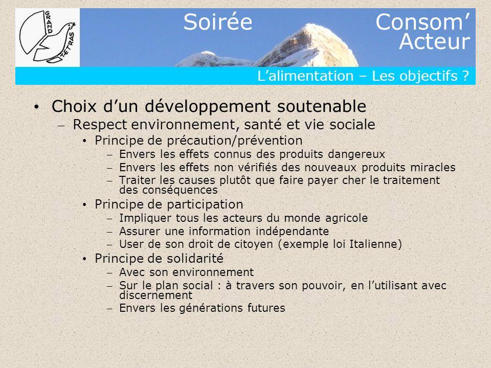 Soirée Consom Acteur Lalimentation – Les objectifs ? Choix dun développement soutenable – Respect environnement, santé et vie sociale Principe de préc