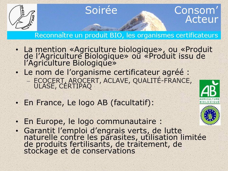 Soirée Consom Acteur Reconnaître un produit BIO, les organismes certificateurs La mention «Agriculture biologique», ou «Produit de lAgriculture Biolog