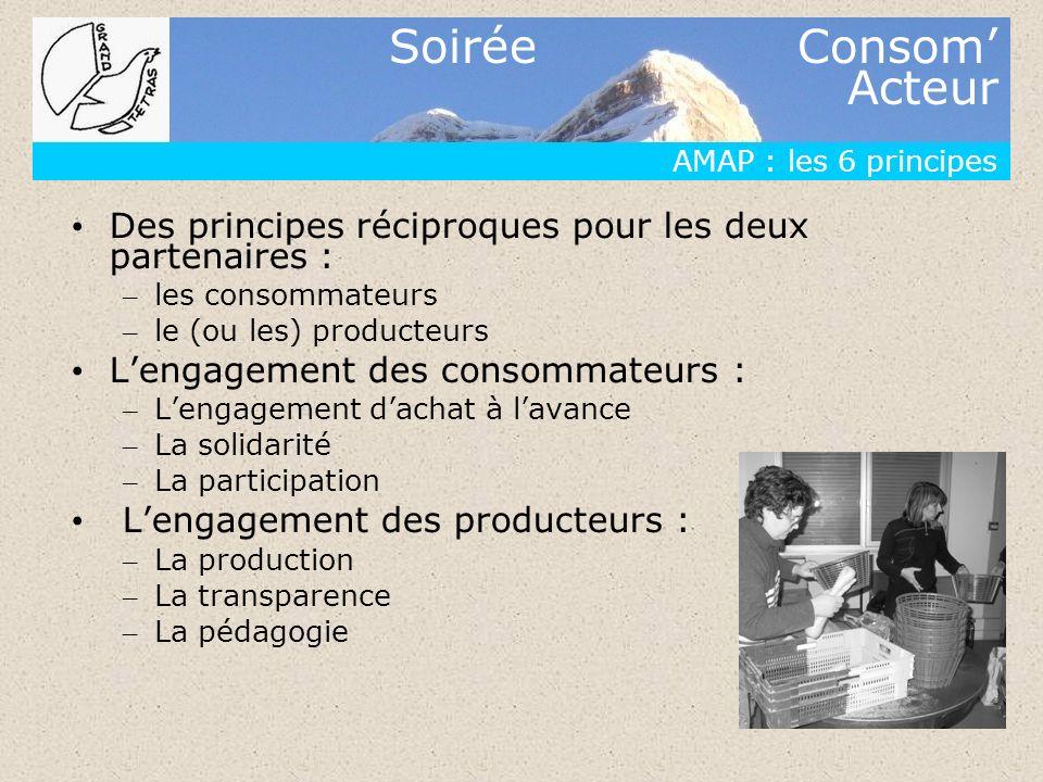 Soirée Consom Acteur AMAP : les 6 principes Des principes réciproques pour les deux partenaires : – les consommateurs – le (ou les) producteurs Lengag