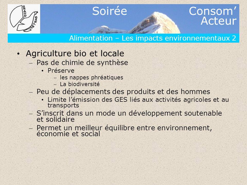 Soirée Consom Acteur Alimentation – Les impacts environnementaux 2 Agriculture bio et locale – Pas de chimie de synthèse Préserve – les nappes phréati