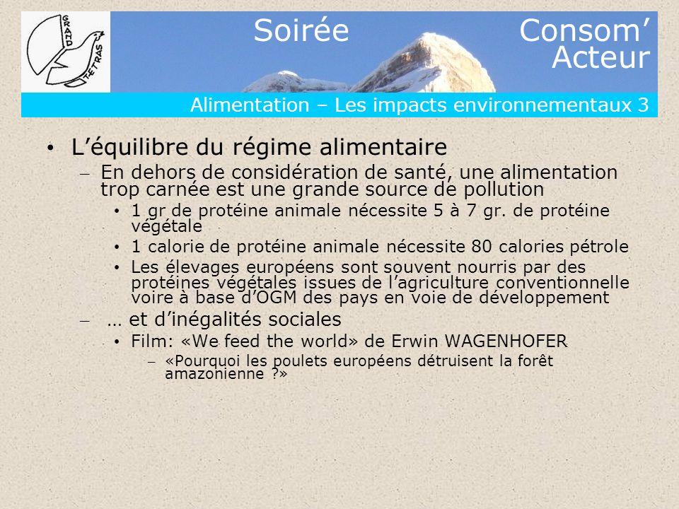 Soirée Consom Acteur Alimentation – Les impacts environnementaux 3 Léquilibre du régime alimentaire – En dehors de considération de santé, une aliment