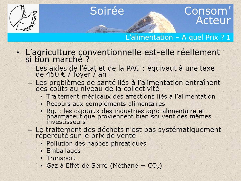 Soirée Consom Acteur Lalimentation – A quel Prix ? 1 Lagriculture conventionnelle est-elle réellement si bon marché ? – Les aides de létat et de la PA