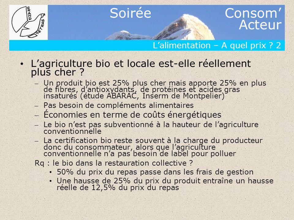 Soirée Consom Acteur Lalimentation – A quel prix ? 2 Lagriculture bio et locale est-elle réellement plus cher ? – Un produit bio est 25% plus cher mai