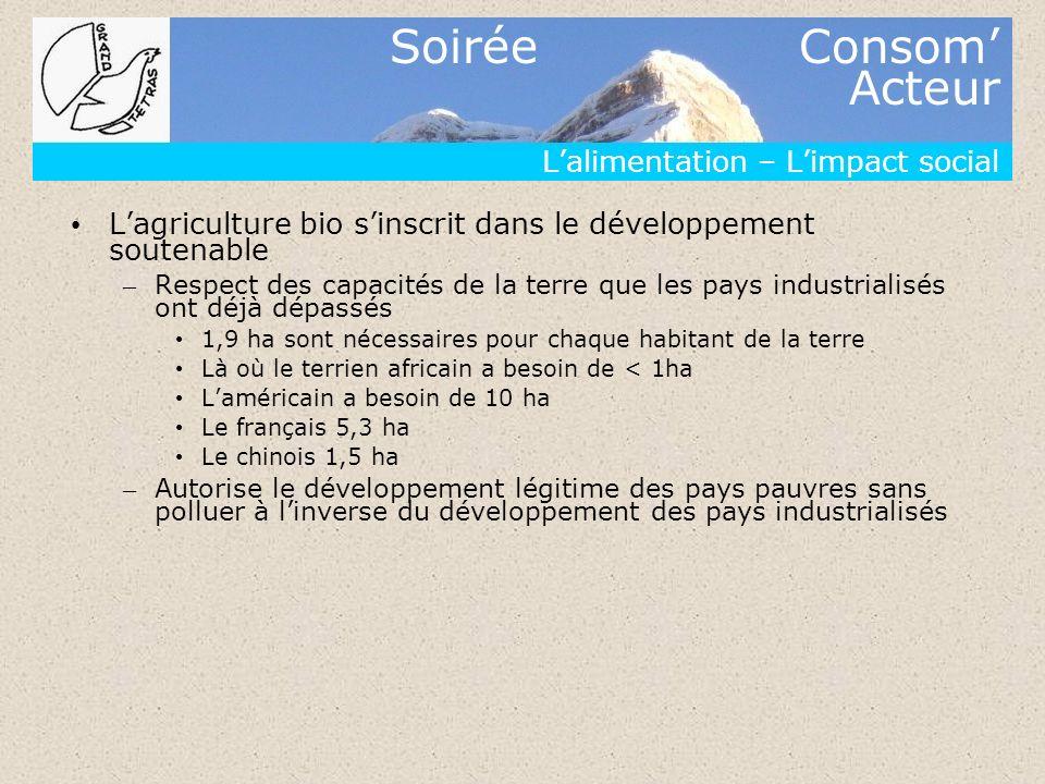 Soirée Consom Acteur Lalimentation – Limpact social Lagriculture bio sinscrit dans le développement soutenable – Respect des capacités de la terre que