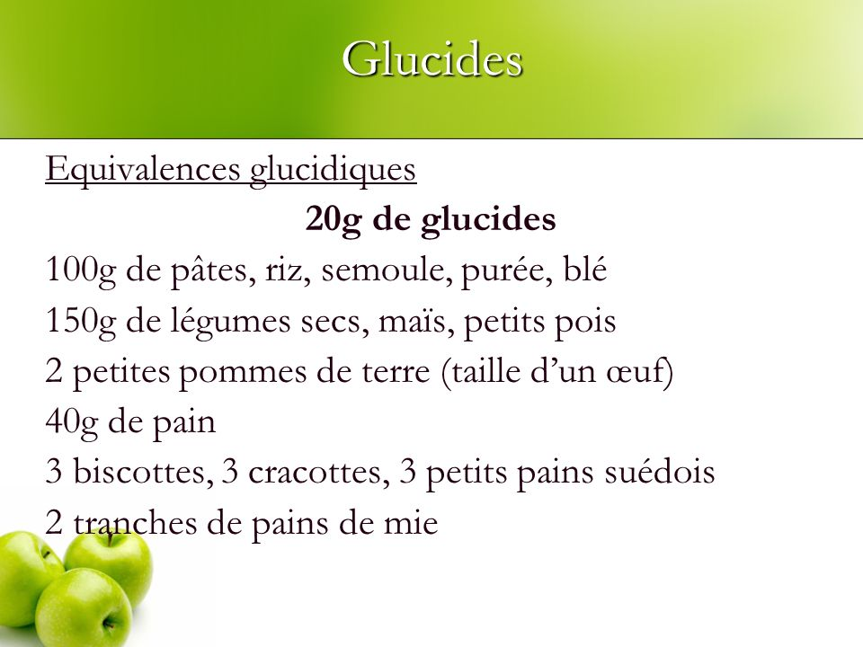 Glucides Equivalences glucidiques 20g de glucides 100g de pâtes, riz, semoule, purée, blé 150g de légumes secs, maïs, petits pois 2 petites pommes de