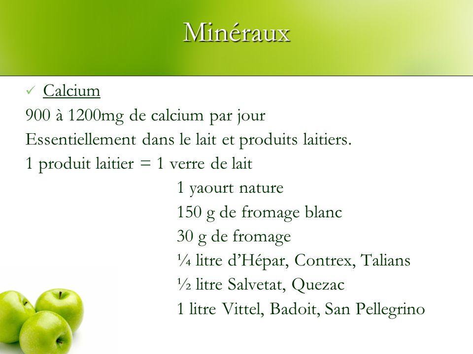 Minéraux Calcium 900 à 1200mg de calcium par jour Essentiellement dans le lait et produits laitiers. 1 produit laitier = 1 verre de lait 1 yaourt natu
