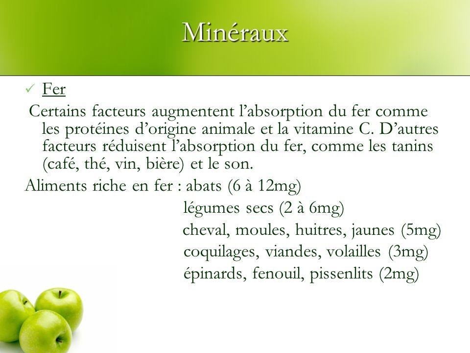 Minéraux Fer Certains facteurs augmentent labsorption du fer comme les protéines dorigine animale et la vitamine C.
