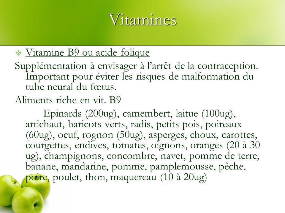 Vitamines Vitamine B9 ou acide folique Supplémentation à envisager à larrêt de la contraception. Important pour éviter les risques de malformation du