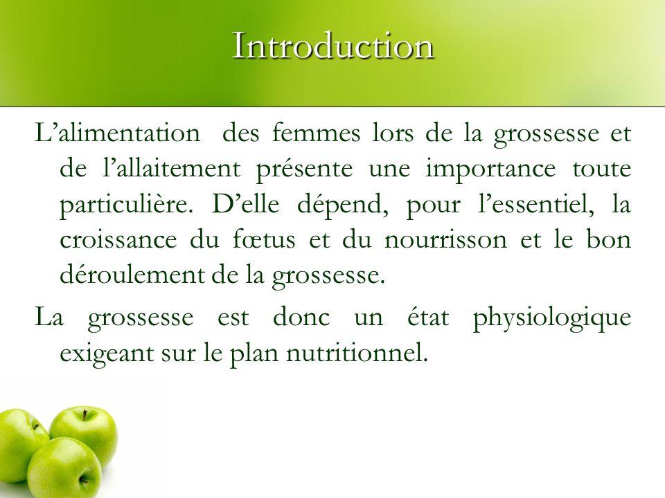 Introduction Lalimentation des femmes lors de la grossesse et de lallaitement présente une importance toute particulière.
