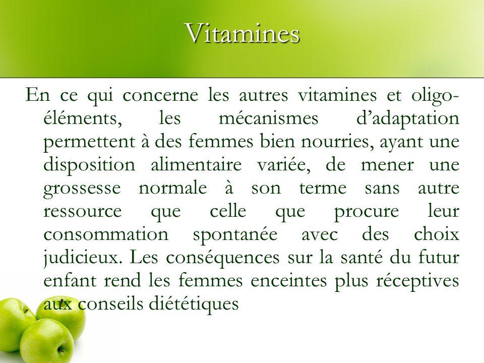 Vitamines En ce qui concerne les autres vitamines et oligo- éléments, les mécanismes dadaptation permettent à des femmes bien nourries, ayant une disp