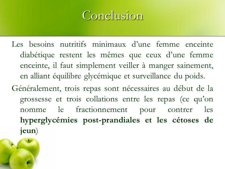 Conclusion Les besoins nutritifs minimaux dune femme enceinte diabétique restent les mêmes que ceux dune femme enceinte, il faut simplement veiller à