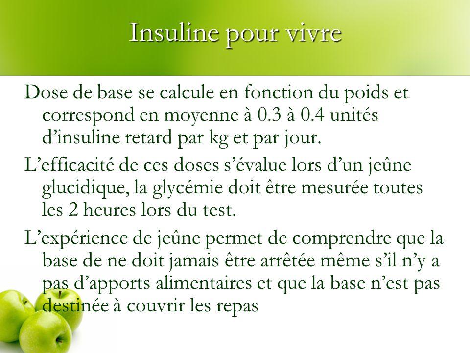 Insuline pour vivre Dose de base se calcule en fonction du poids et correspond en moyenne à 0.3 à 0.4 unités dinsuline retard par kg et par jour. Leff