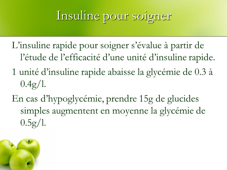 Insuline pour soigner Linsuline rapide pour soigner sévalue à partir de létude de lefficacité dune unité dinsuline rapide. 1 unité dinsuline rapide ab