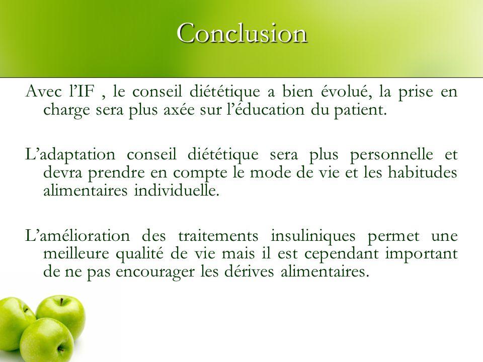 Conclusion Avec lIF, le conseil diététique a bien évolué, la prise en charge sera plus axée sur léducation du patient. Ladaptation conseil diététique