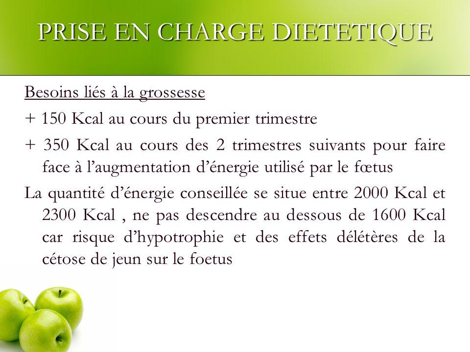 PRISE EN CHARGE DIETETIQUE Besoins liés à la grossesse + 150 Kcal au cours du premier trimestre + 350 Kcal au cours des 2 trimestres suivants pour fai