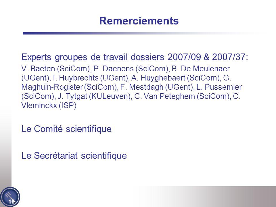 16 Remerciements Experts groupes de travail dossiers 2007/09 & 2007/37: V.