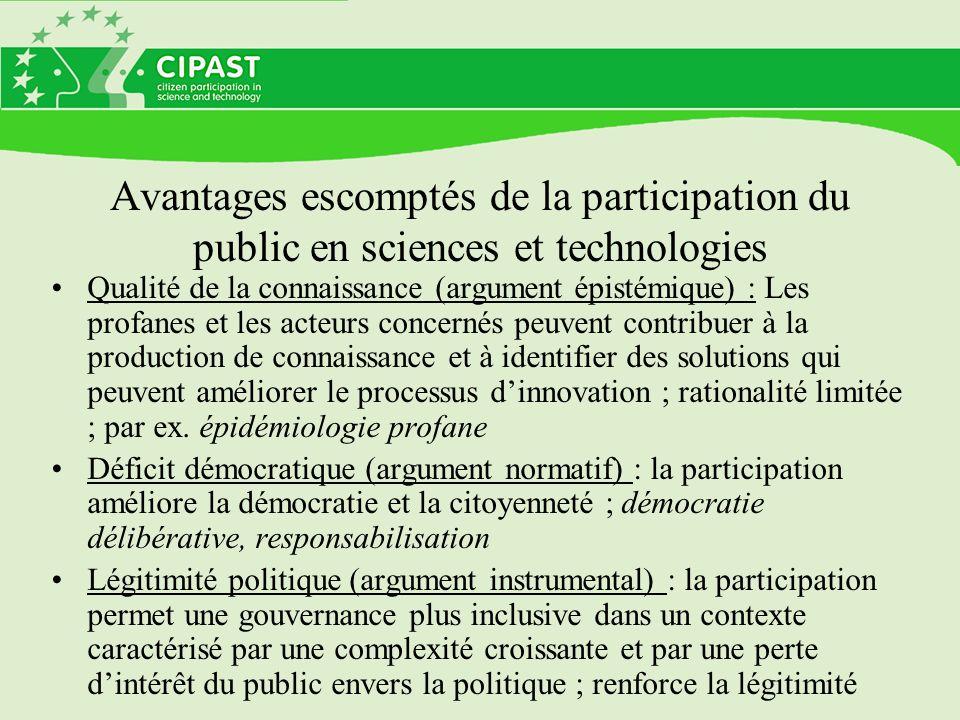 Avantages escomptés de la participation du public en sciences et technologies Qualité de la connaissance (argument épistémique) : Les profanes et les