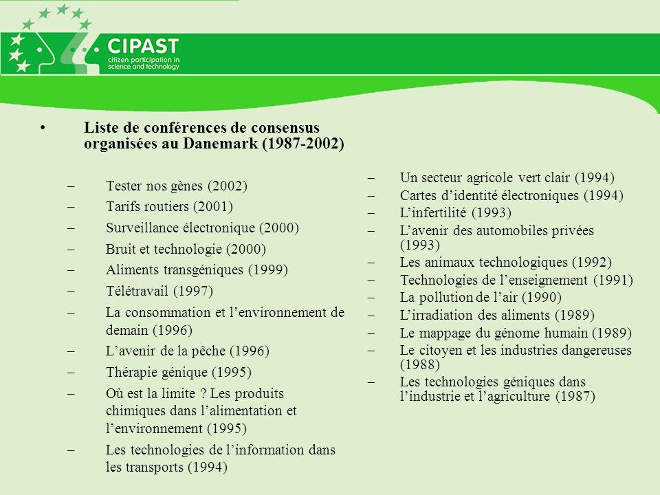 Liste de conférences de consensus organisées au Danemark (1987-2002) –Tester nos gènes (2002) –Tarifs routiers (2001) –Surveillance électronique (2000