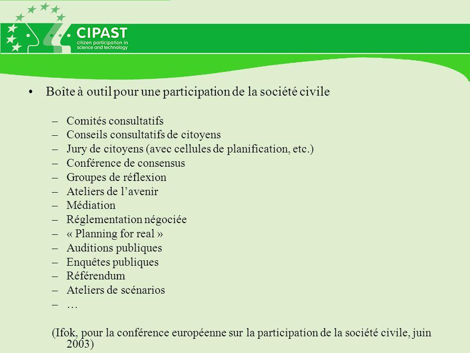 Boîte à outil pour une participation de la société civile –Comités consultatifs –Conseils consultatifs de citoyens –Jury de citoyens (avec cellules de