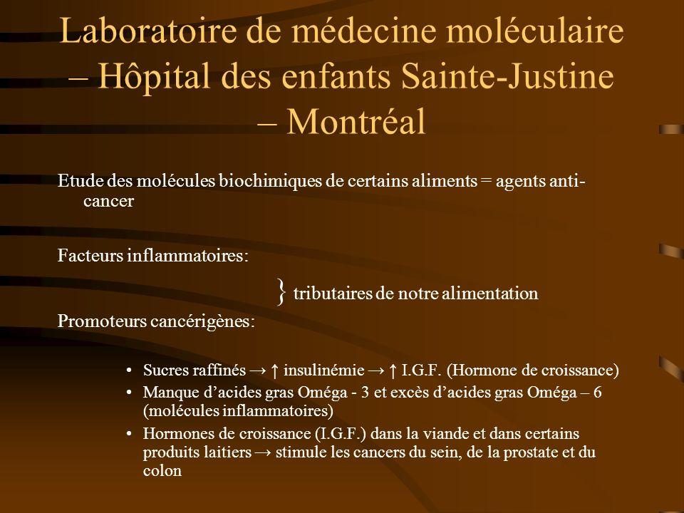 Laboratoire de médecine moléculaire – Hôpital des enfants Sainte-Justine – Montréal Etude des molécules biochimiques de certains aliments = agents ant