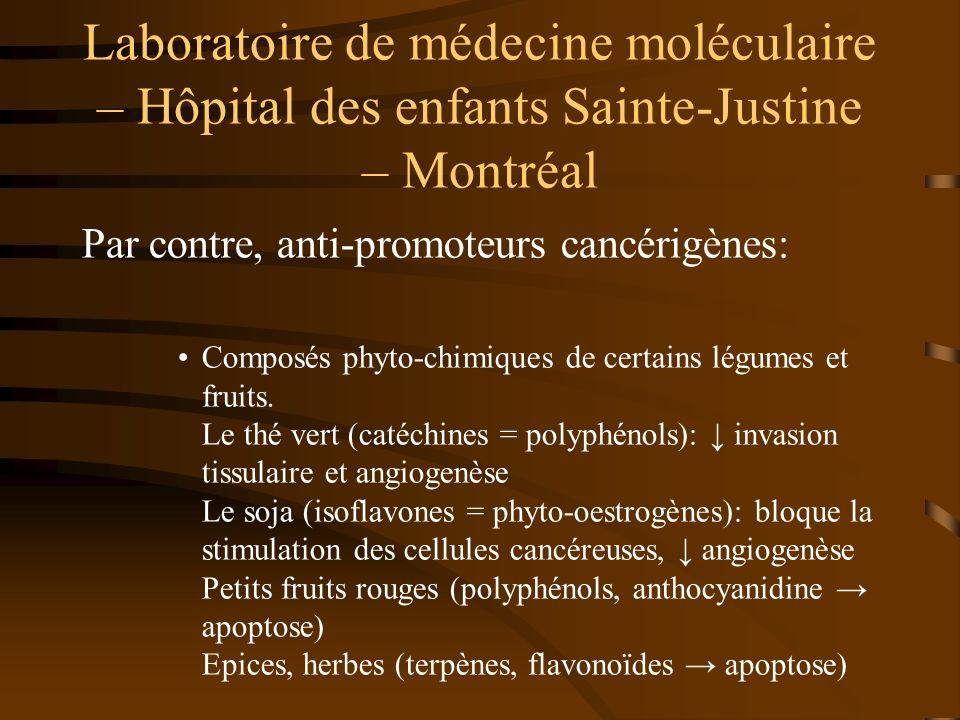 Laboratoire de médecine moléculaire – Hôpital des enfants Sainte-Justine – Montréal Par contre, anti-promoteurs cancérigènes: Composés phyto-chimiques