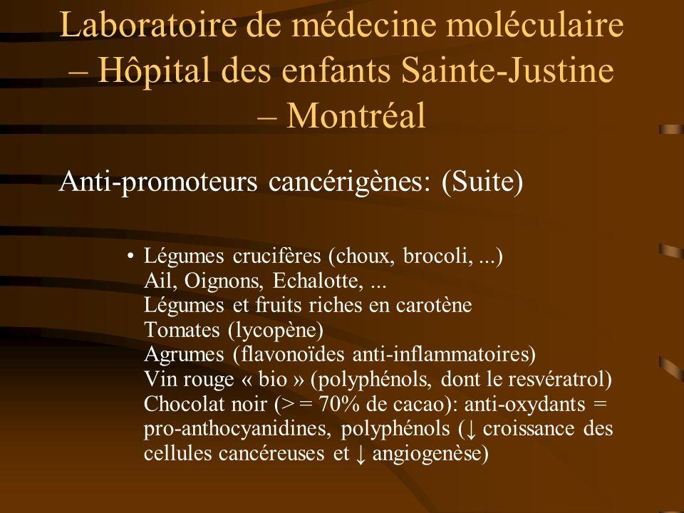 Laboratoire de médecine moléculaire – Hôpital des enfants Sainte-Justine – Montréal Anti-promoteurs cancérigènes: (Suite) Légumes crucifères (choux, b
