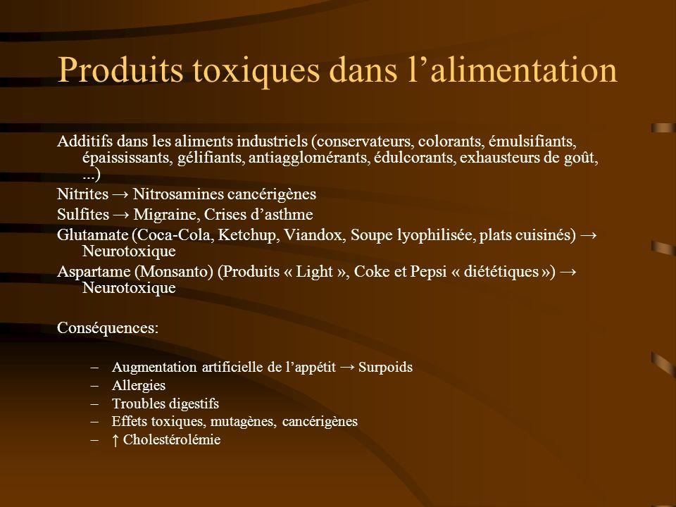 Produits toxiques dans lalimentation Additifs dans les aliments industriels (conservateurs, colorants, émulsifiants, épaississants, gélifiants, antiag