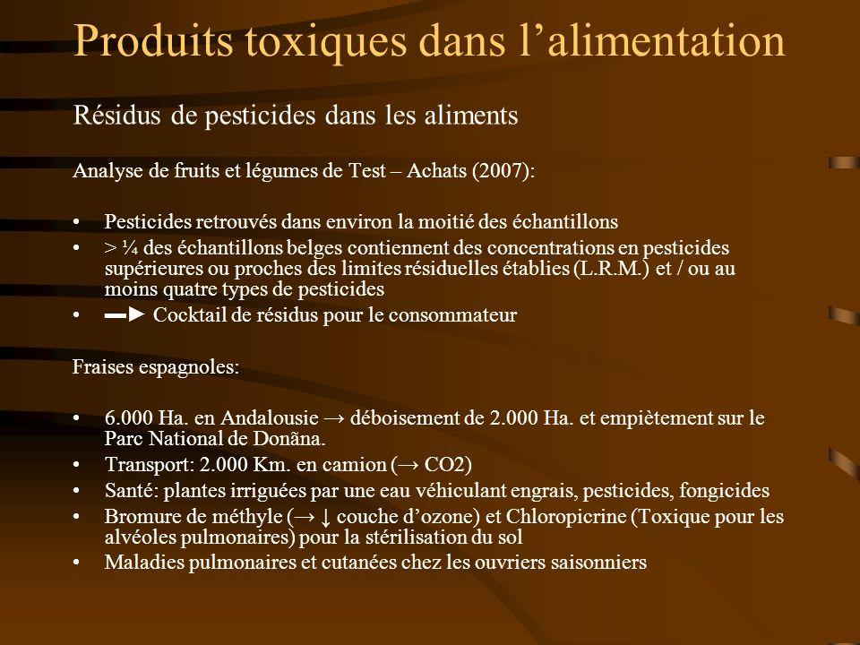 Produits toxiques dans lalimentation Résidus de pesticides dans les aliments Analyse de fruits et légumes de Test – Achats (2007): Pesticides retrouvé