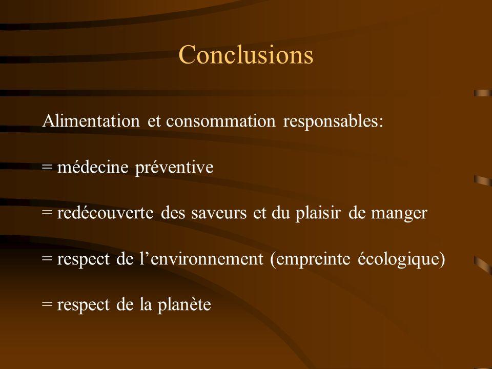 Conclusions Alimentation et consommation responsables: = médecine préventive = redécouverte des saveurs et du plaisir de manger = respect de lenvironn