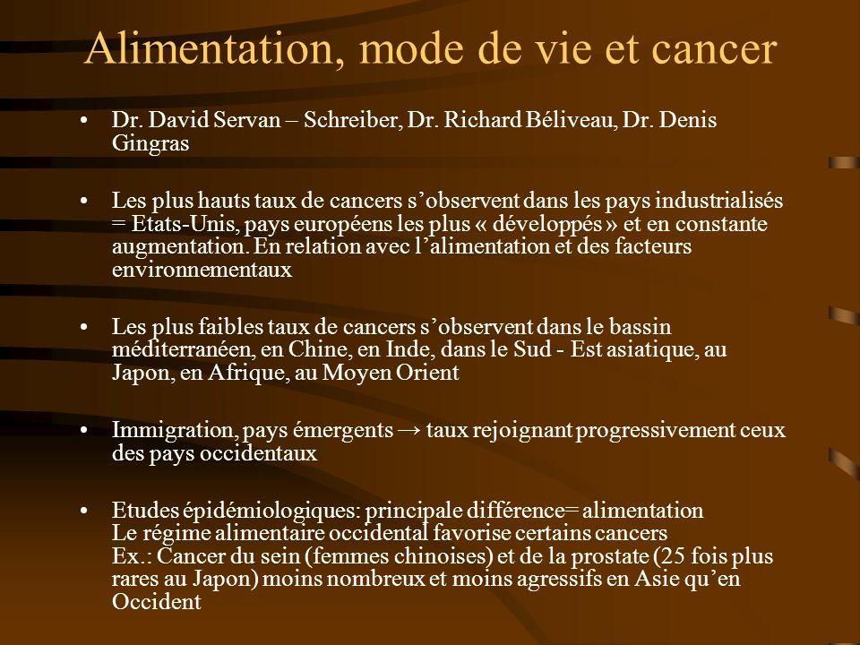 Croissance des tumeurs Initiation dune cellule pré – cancéreuse (cellule dormante): produits chimiques cancérigènes, radiations, … Promotion: facteurs nutritionnels, facteurs inflammatoires petite tumeur Progression: angiogenèse, dissémination, métastases