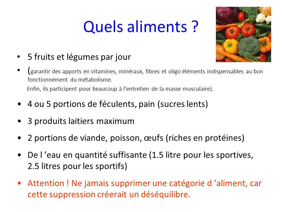 Quels aliments ? 5 fruits et légumes par jour ( garantir des apports en vitamines, minéraux, fibres et oligo éléments indispensables au bon fonctionne