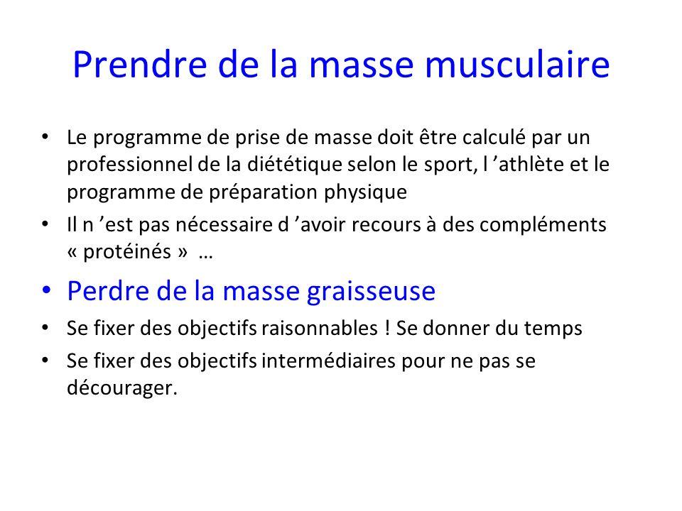 Prendre de la masse musculaire Le programme de prise de masse doit être calculé par un professionnel de la diététique selon le sport, l athlète et le