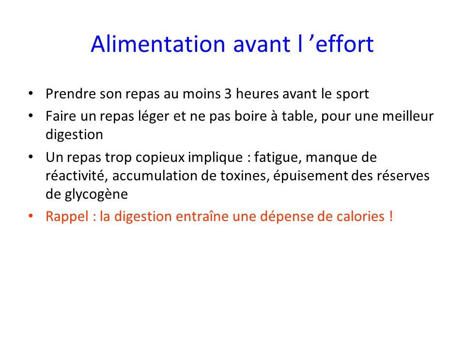 Alimentation avant l effort Prendre son repas au moins 3 heures avant le sport Faire un repas léger et ne pas boire à table, pour une meilleur digesti