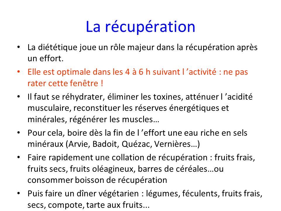 La récupération La diététique joue un rôle majeur dans la récupération après un effort. Elle est optimale dans les 4 à 6 h suivant l activité : ne pas