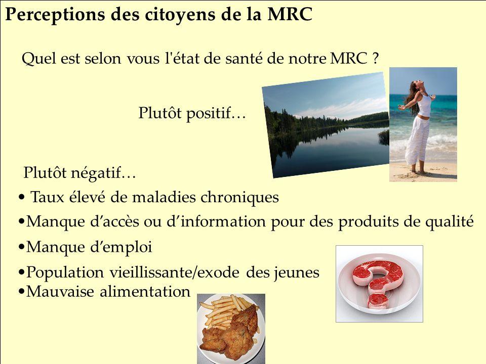 SRQ 05/09produirelasanteensemble.com10 Quel est selon vous l'état de santé de notre MRC ? Plutôt négatif… Plutôt positif… Taux élevé de maladies chron