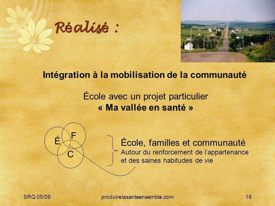 SRQ 05/09produirelasanteensemble.com16 R é alis é : É C F École, familles et communauté Autour du renforcement de lappartenance et des saines habitude